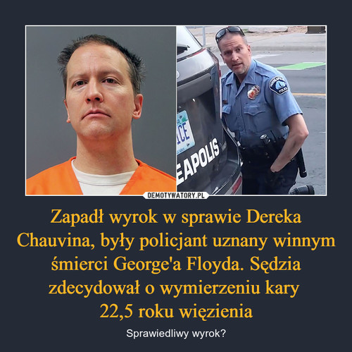 Zapadł wyrok w sprawie Dereka Chauvina, były policjant uznany winnym śmierci George'a Floyda. Sędzia zdecydował o wymierzeniu kary  22,5 roku więzienia