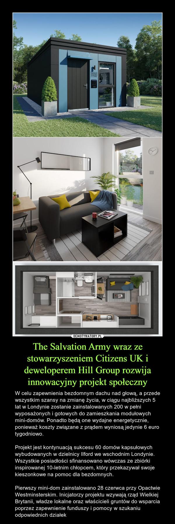 The Salvation Army wraz ze stowarzyszeniem Citizens UK i deweloperem Hill Group rozwija innowacyjny projekt społeczny