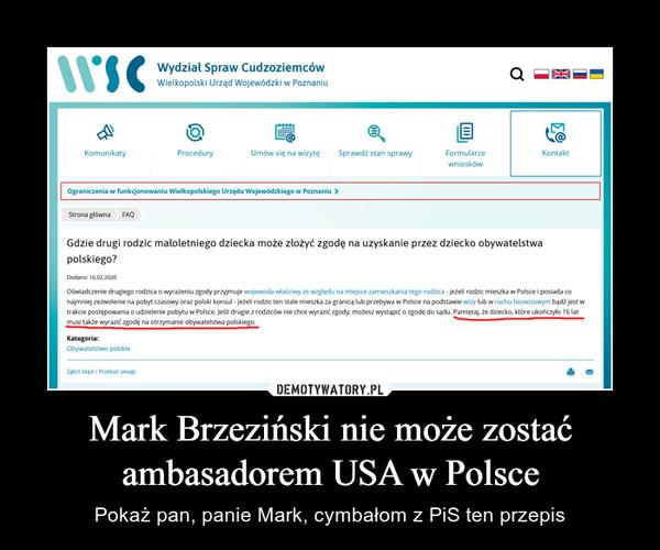 Mark Brzeziński nie może zostać ambasadorem USA w Polsce – Pokaż pan, panie Mark, cymbałom z PiS ten przepis