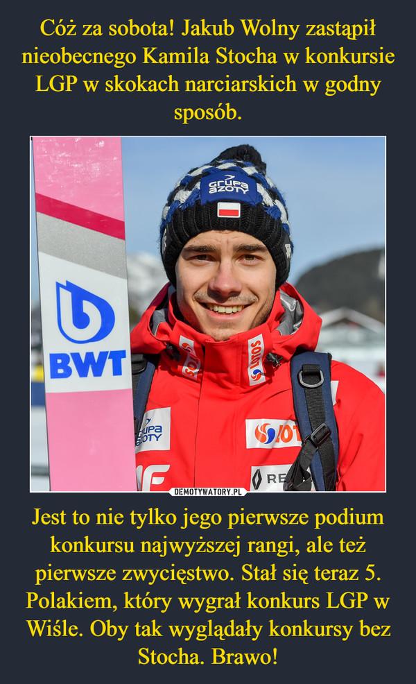 Jest to nie tylko jego pierwsze podium konkursu najwyższej rangi, ale też pierwsze zwycięstwo. Stał się teraz 5. Polakiem, który wygrał konkurs LGP w Wiśle. Oby tak wyglądały konkursy bez Stocha. Brawo! –