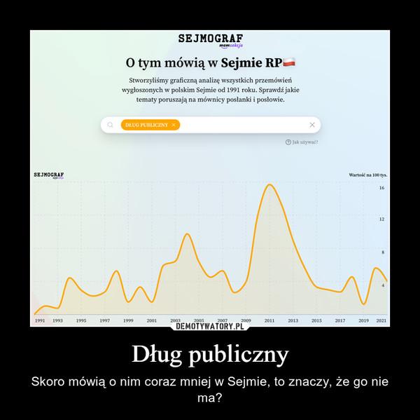 Dług publiczny – Skoro mówią o nim coraz mniej w Sejmie, to znaczy, że go nie ma?