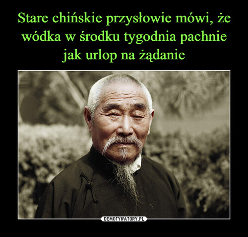 Stare chińskie przysłowie mówi, że wódka w środku tygodnia pachnie jak urlop na żądanie