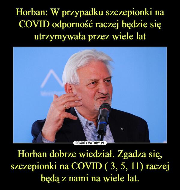 Horban dobrze wiedział. Zgadza się, szczepionki na COVID ( 3, 5, 11) raczej będą z nami na wiele lat. –