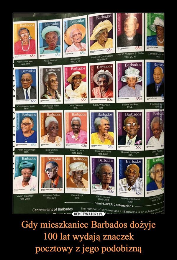 Gdy mieszkaniec Barbados dożyje100 lat wydają znaczekpocztowy z jego podobizną –