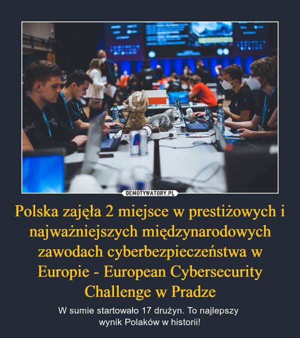 Polska zajęła 2 miejsce w prestiżowych i najważniejszych międzynarodowych zawodach cyberbezpieczeństwa w Europie - European Cybersecurity Challenge w Pradze – W sumie startowało 17 drużyn. To najlepszy wynik Polaków w historii!
